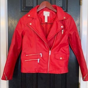 Zara Girls faux red leather jacket 12